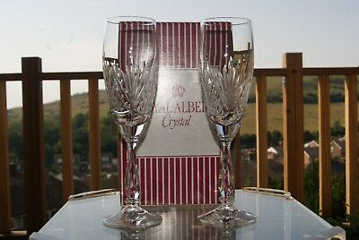 2 Royal Albert Regency Champagne Flutes Glasses Tulip Boxed. 4 Sets Available • 20£