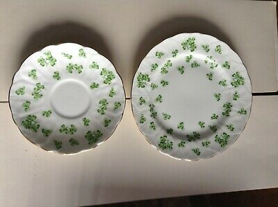 Aynsley China Plate And Saucer Shamrock Pattern. • 3.50£