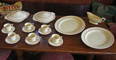 1930's Cream Dinner Service, With Vermillion (red) And Grey Stripes, 19 Pieces • 14.50£