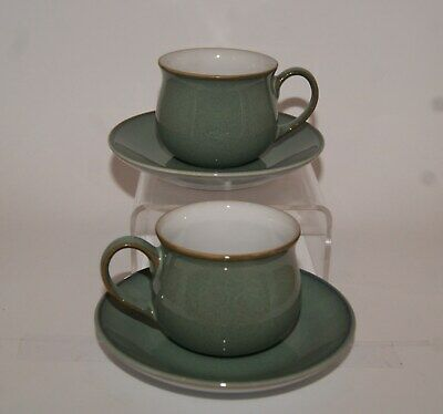 2x Denby Regency Green Coffee / Espresso Cups  & Saucers. 4 Pairs Available • 14£