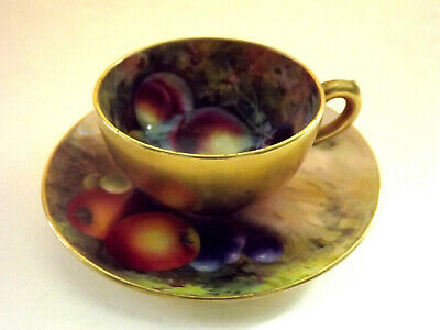 ROYAL WORCESTER -Hand Painted Fruit Cup & Saucer-By A.G.MOSELEY & H.STINTON-1924 • 195£