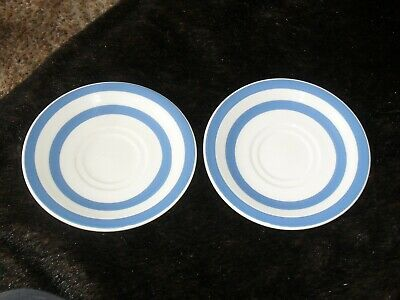2 Blue And White Saucers No Make Lovely Condition • 3£
