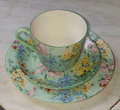 SHELLEY:  Melody  Green Rare Demitasse Trio, Cup, Saucer Plate • 24.99£