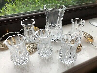 Job Lot 6 Matching VINTAGE CRYSTAL Cut Glass VASES, Display Floristry Wedding • 18£