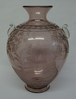 Antique Pink Glass Vase Engraved With Victorian Courting Couple & Land Scape. • 39.99£