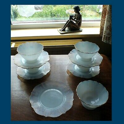 Set Of 6 AMERICAN  SWEETHEART Dishes &  Plates 1930s Patterned Depression Glass  • 25£