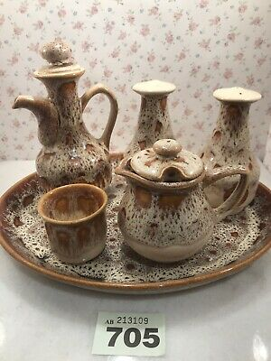 Foster's Cornwall Studio Pottery Vintage Brown Condiment Cruet Set West Country • 24.50£