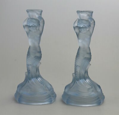 A Pair Art Deco Glass Walther & Sohne Blue Mermaid Nymphen Candlesticks C.1930's • 170£