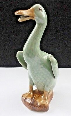 Vintage Chinese Celadon Duck Open Beak With Tongue Has An Impressed Seal Mark • 40£
