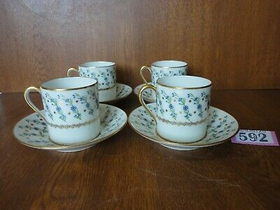Limoges / Raynaud & Co. - 4 Coffee Cups / Cans & Saucers - Blue Flowers & Gilt • 59.95£