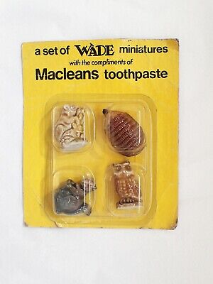 Rare Vintage WADE Miniatures Whimsies MACLEANS TOOTHPASTE SET Sealed Pack 1970's • 89.99£