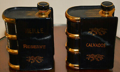 Pair Of Unusual Ceramic Spirit Decanters Or Flasks In The Shape Of Books • 18£
