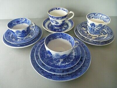 Job Lot Willow Blue & White Transfer Cups Saucers Plates - Maling & Ringtons  • 12£