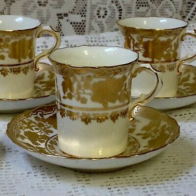 Antique C1912, 3 Hammersley Chocolate / Coffee Cups & 3 Saucers, Hand Painted • 45£