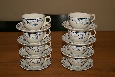 Set 0f 8 Furnivals Denmark Blue Tea Cups And Saucers Lovely Condition  • 40£