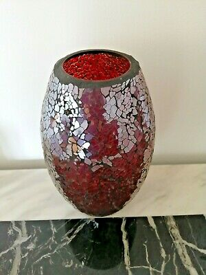 Jane Packer Ruby Red 'Distressed' Oval Glass Vase. Pre-Loved. 23cm High. • 19.99£