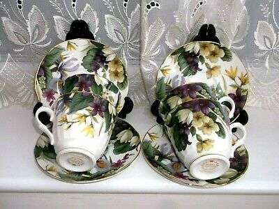 VINTAGE ROYAL GRAFTON  CUPS AND SAUCERS  X  4  **SPRING FLOWERS  & GILT  ** • 16£