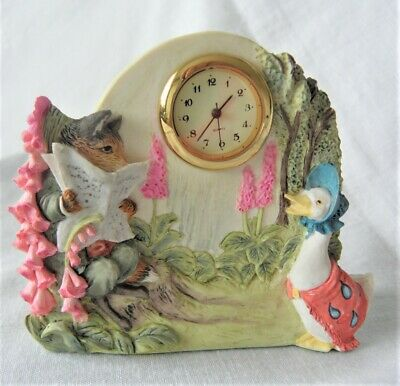 Border Fine Arts ~ Beatrix Potter ~ Jemima Puddleduck & Foxy Gent Clock ~ Bp38 • 13.99£