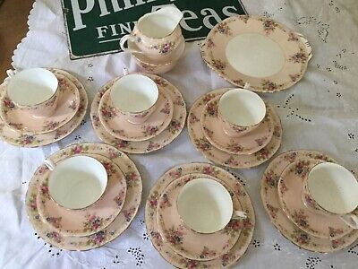 Aynsley Pink Floral Tea Set 21 Pieces, 1 Cup Has Hairline See Pics, Beautiful Se • 80£