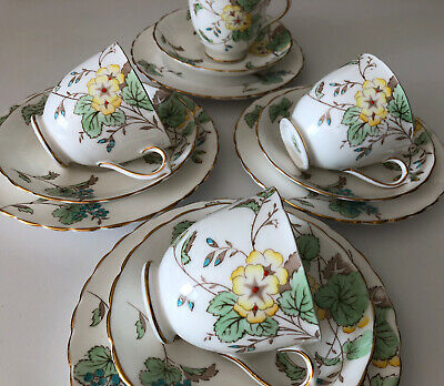 Vintage TUSCAN Plant Fine Bone China X 4 Trios - Hand Painted Florals • 36£