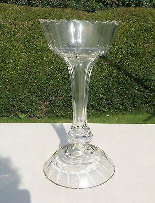 Victorian Clear Cut Glass Mantle Lustre Vase - Without Drops • 9.99£