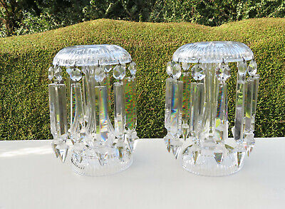 A Pair Of Victorian Clear Cut Glass Mantle Lustre Vases - With 24 Drops • 175£