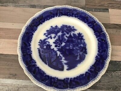 "Antique Bristol Pountney  Flow Blue Mandarin / Willow Pattern 10"" Plate • 15£"