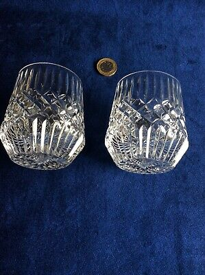 Pair Of Vintage Crystal Whiskey Glasses Flat-bottomed Unknown Maker • 18£