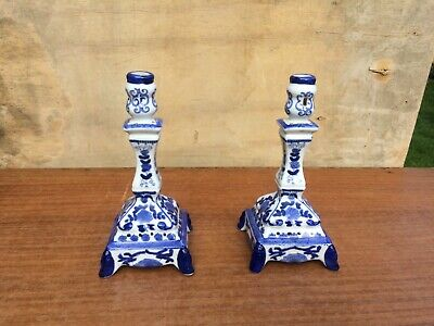 Pair Of Blue And White China Candlesticks • 4.40£