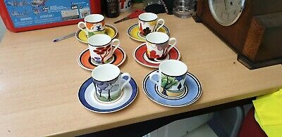 Clarice Cliff Coffee Cups And Saucers  • 16£