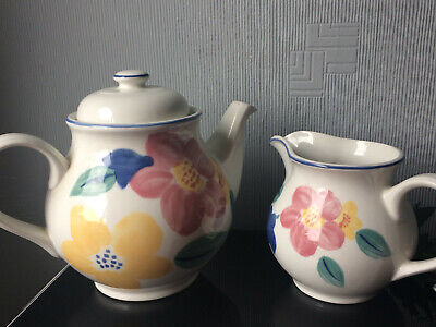 Johnsons Brothers Teapot -English Pottery Coffee POT & Milk Jug SET White Floral • 20£