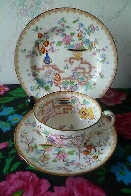 Vintage / Antique Minton English China Trio Tea Cup Saucer Plate Chinese Tree • 12.50£
