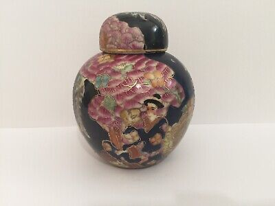 Hand Painted Chinese Ginger Jar With Pink Blossom & Geishas , Crackled Glazed • 28£