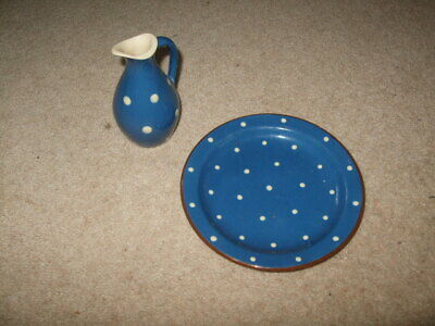 Sandygate Blue White Spot Jug And Side Plate • 0.99£