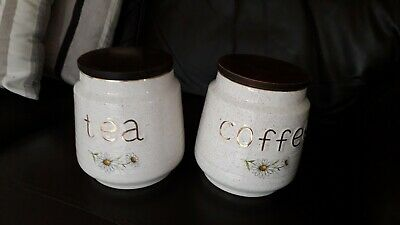 Kernewek Vintage Cornish Pottery Tea & Coffee Daisy Cannisters • 6.99£