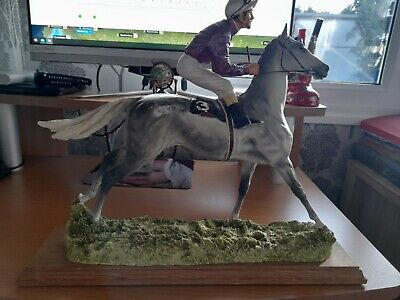 David Geenty Racehorse Horse Grey With Jockey In A/F Condition  • 21£
