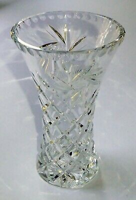 Large Heavy Decorative Crystal Glass Flower Vase 8  Tall With 5  Rim Diameter • 35£