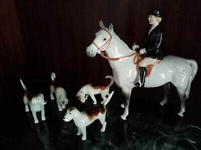 Beswick Horse And Rider With 4 Hounds • 51£