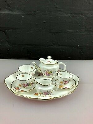 Royal Crown Derby Posies Miniature Tea Set For Two 1st Quality Teapot Cups Etc • 69.99£