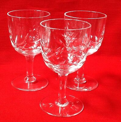 Vintage, Three Hand Cut English Webb Corbett Sherry, Port, Liqueur Glasses Vgc • 9.95£