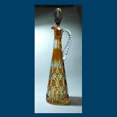 Tall AMBER Cut-to-Clear JUG DECANTER 43 Cm Including Stopper • 17.50£
