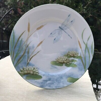 6 X Porcelain Side Plates, Water Lily & Dragonfly • 12£