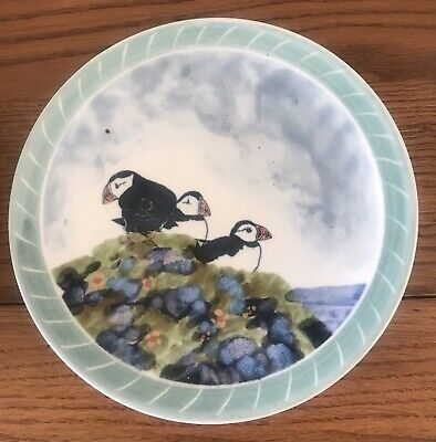 Crathes Studio Pottery Handpainted Plate 3 Puffins • 4.50£