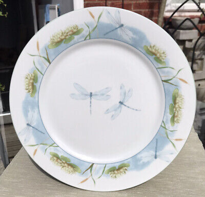 6 X Porcelain Dinner Plates, Water Lily & Dragonfly • 12£