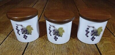 3 X Royal Worcester  ' Evesham '  Porcelain Storage Containers & Wooden Lids   • 15£