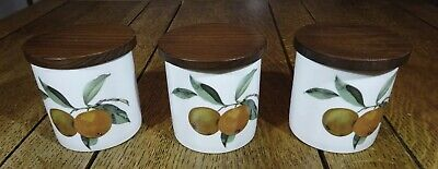3 X Royal Worcester  ' Evesham '  Porcelain Storage Containers & Wooden Lids   • 19.50£