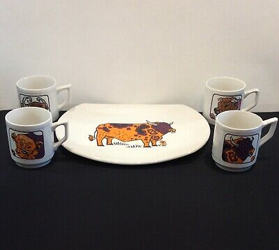Vintage English Ironstone Pottery Beefeater Steak Plate & 4 Matching Mugs - Rare • 12.99£