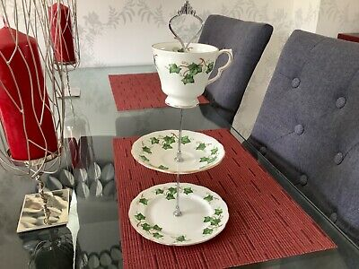 Colclough Ivy Leaf Small 3 Tier Cup/ Saucer Cake Stand WEDDING/AFTERNOON TEA • 10£