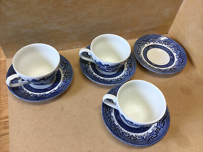 Vintage Churchill Willow Pattern Cup And Saucer Blue & White X 3 + Extra Saucer • 14.99£