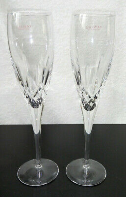 Stunning Pair Galway Classic Longford Lead Crystal Champagne Flutes 25cm Tall • 29.25£